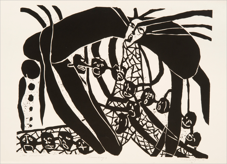 Elvyra Kairiūkštytė, Be pavadinimo, 1986, lino raižinys, 55 x 70 cm. From The Modern Art Center Collection