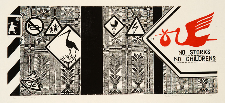 Roberta Vaigeltaitė-Vasiliūnienė, No storks, no childrens. 2012, paper,woodcut, 48,5 x 100,5 cm. From The Modern Art Center collection