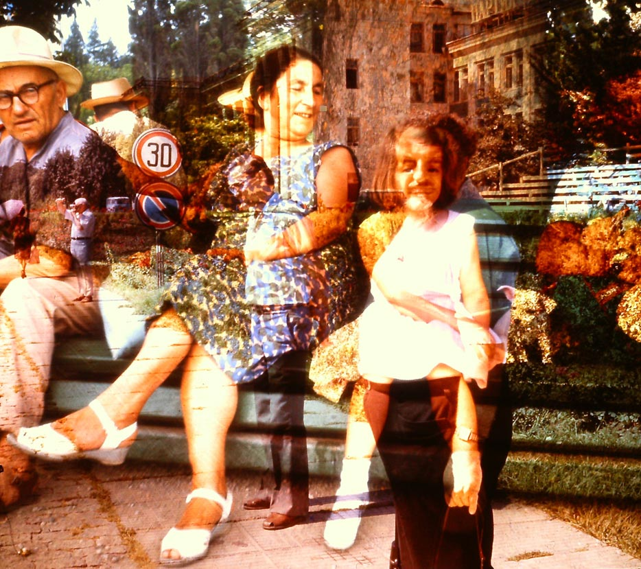 "Paulina Pukytė. On A Bench. 2014. Two found slides. From a solo project ""Girls And Boys""."