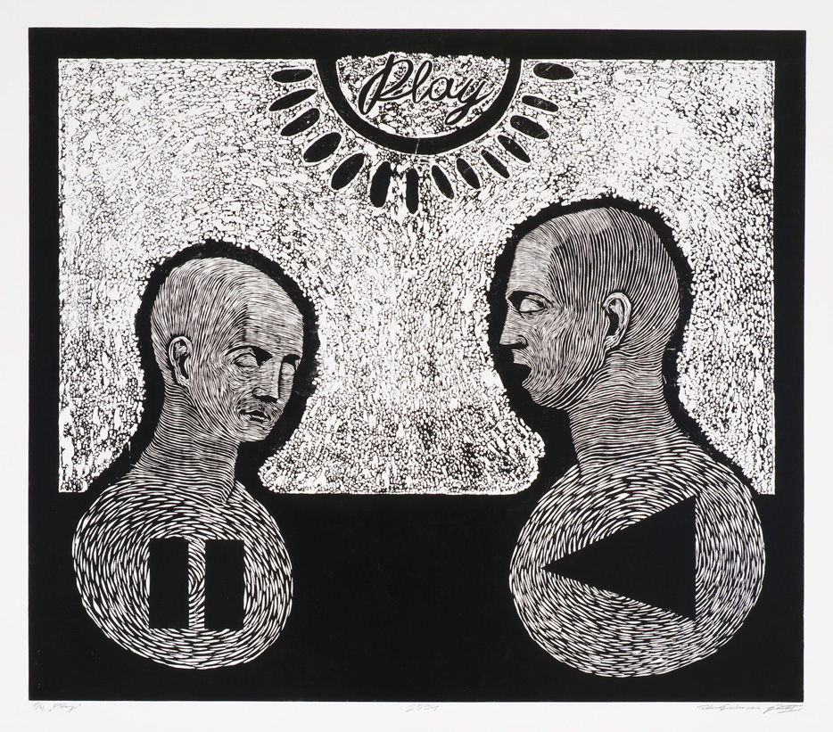 Tadas Gindrėnas, Play, 2004. Linocut, 141x152 cm. From The Modern Art Center collection.