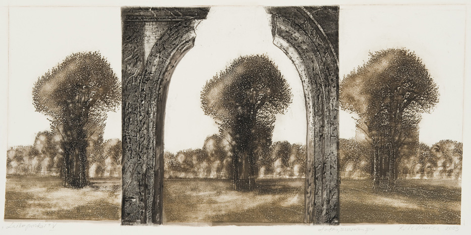 Ramunė Antanina Vėliuvienė, Parks of Time V, 2003, aquatint,  réservage, 33 x 67,8 cm. From the Modern Art Center collection.